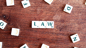 Letter tiles spelling the word Law